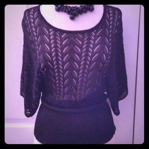 """""""The Limited"""" Black Crocheted Top"""